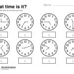 What Time Is It Printable Worksheet | Kolbie | Kindergarten | Kindergarten Clock Worksheet Printables
