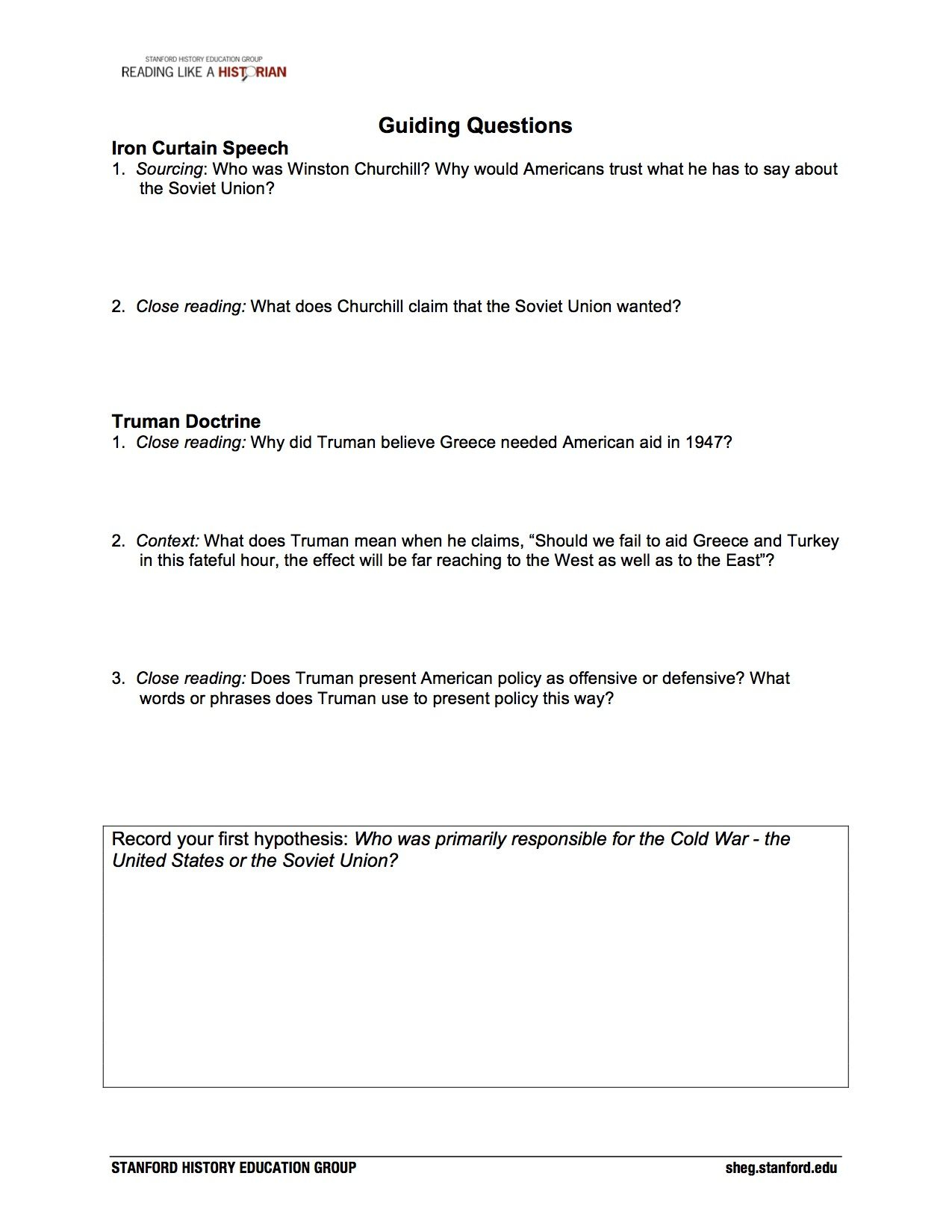 Who Was Primarily Responsible For The Cold War: The United States Or | Cold War Printable Worksheets
