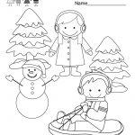 Winter Coloring Worksheet   Free Kindergarten Seasonal Worksheet For   Winter Holidays Worksheets Printables
