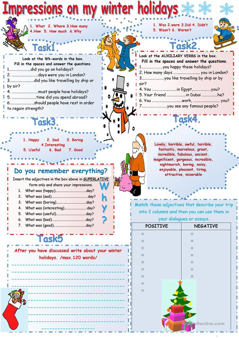 Winter Holidays. Speaking+Writing Worksheet - Free Esl Printable | Winter Holidays Worksheets Printables