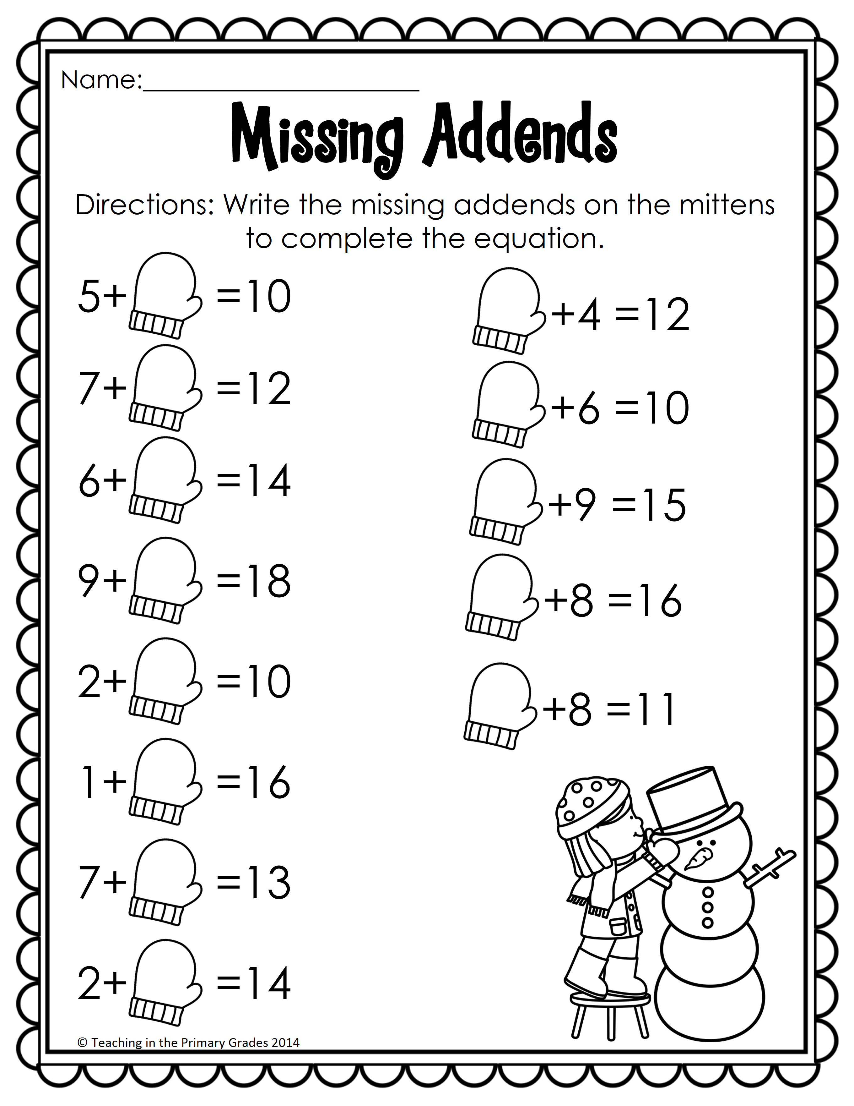 Winter Math And Literacy Printables-No Prep! | Firstgradefaculty | Printable Winter Math Worksheets