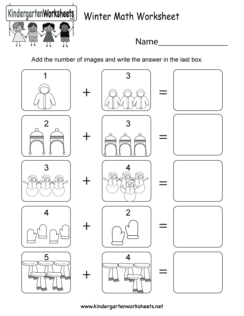 Winter Math Worksheet - Free Kindergarten Seasonal Worksheet For Kids | Printable Winter Math Worksheets
