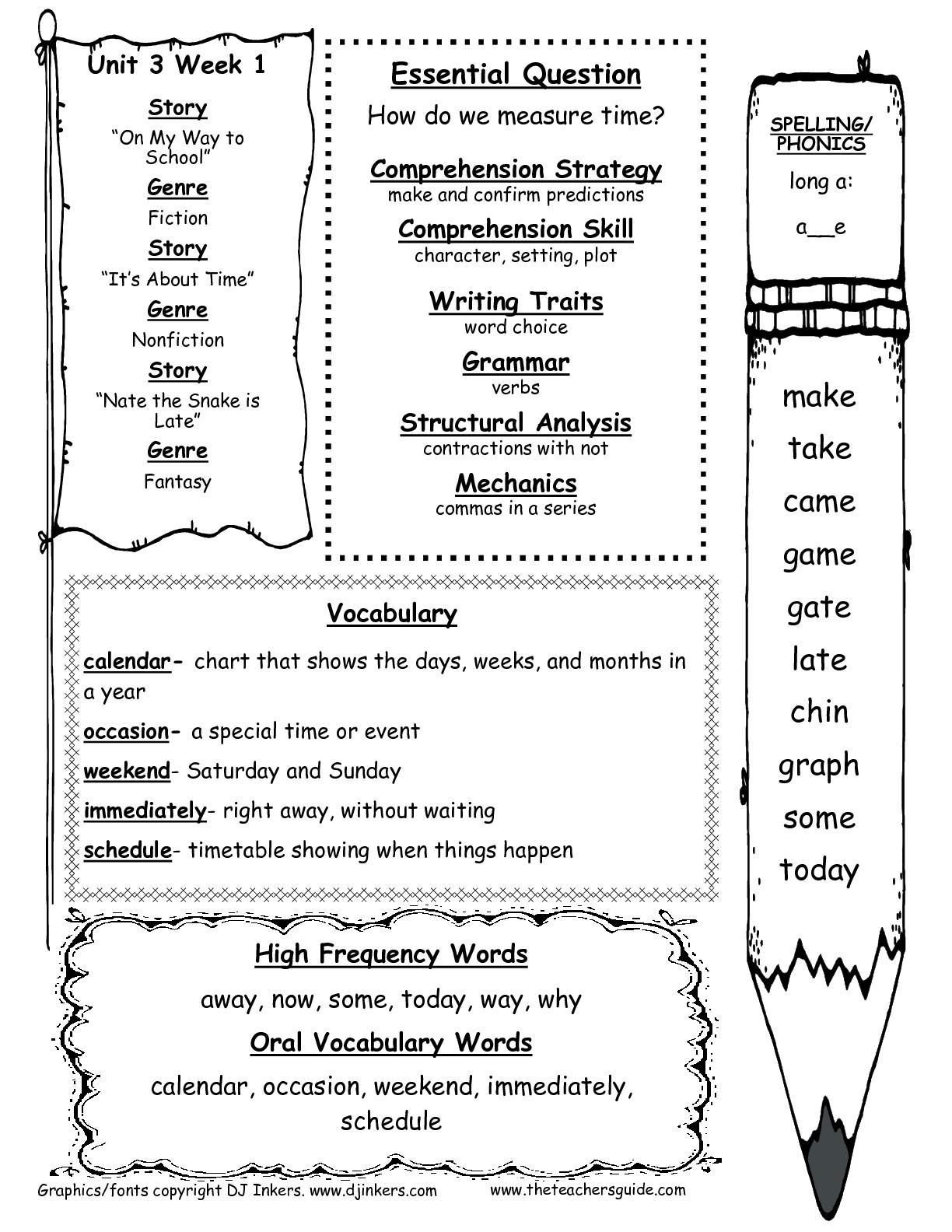 Wonders First Grade Unit Three Week One Printouts - Free Printable | Free Printable First Grade Worksheets