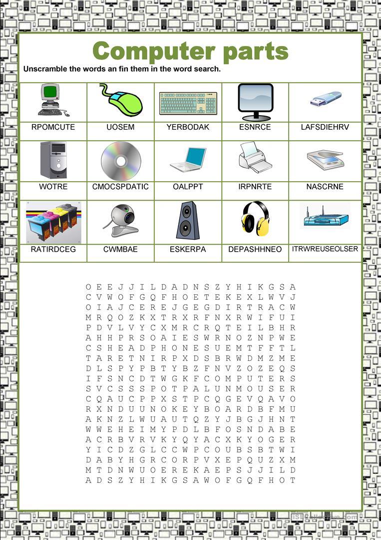 Wordsearch - Computer Parts Worksheet - Free Esl Printable | Parts Of A Computer Worksheet Printable