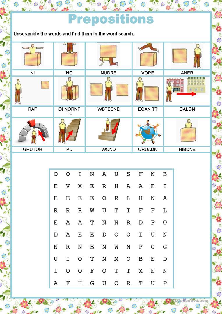 Wordsearch - Prepositions Worksheet - Free Esl Printable Worksheets   Printable Preposition Worksheets
