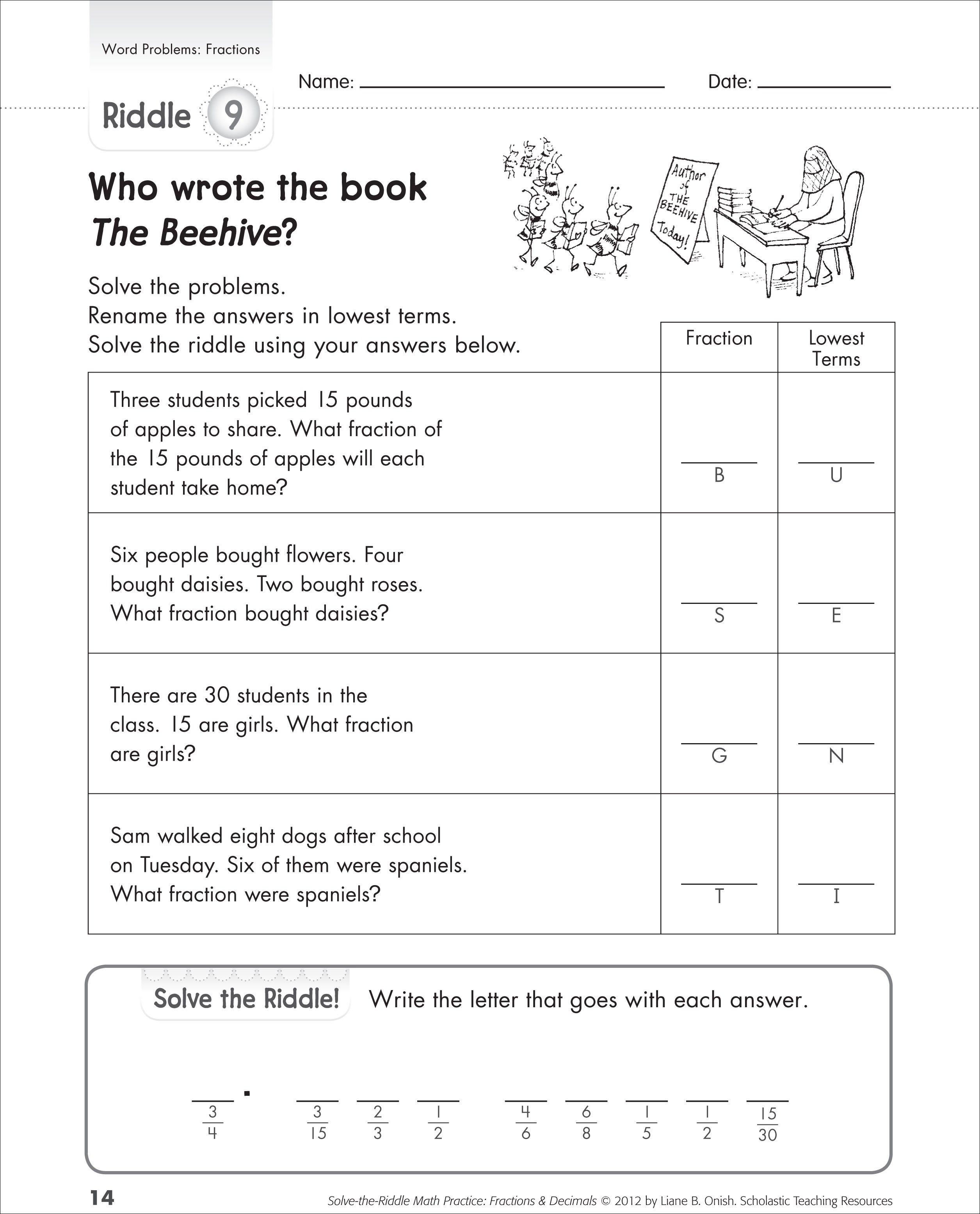 Worksheet : Adding Subtracting Multiplying And Dividing Fractions | Free Printable Fraction Word Problem Worksheets