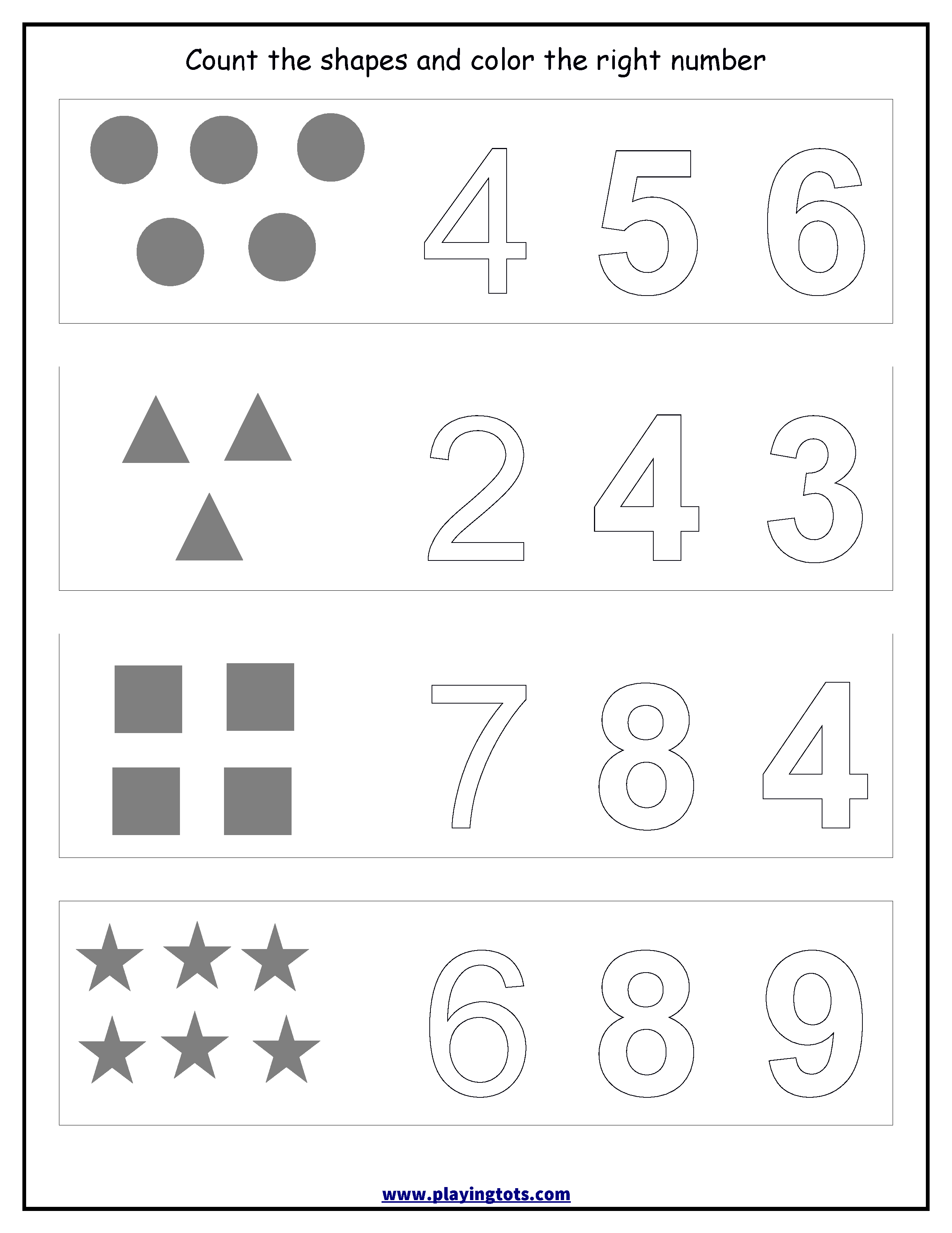 Worksheet - Counting Shapes,coloring Numbers Keywords:free | Printable Preschool Worksheets Pdf
