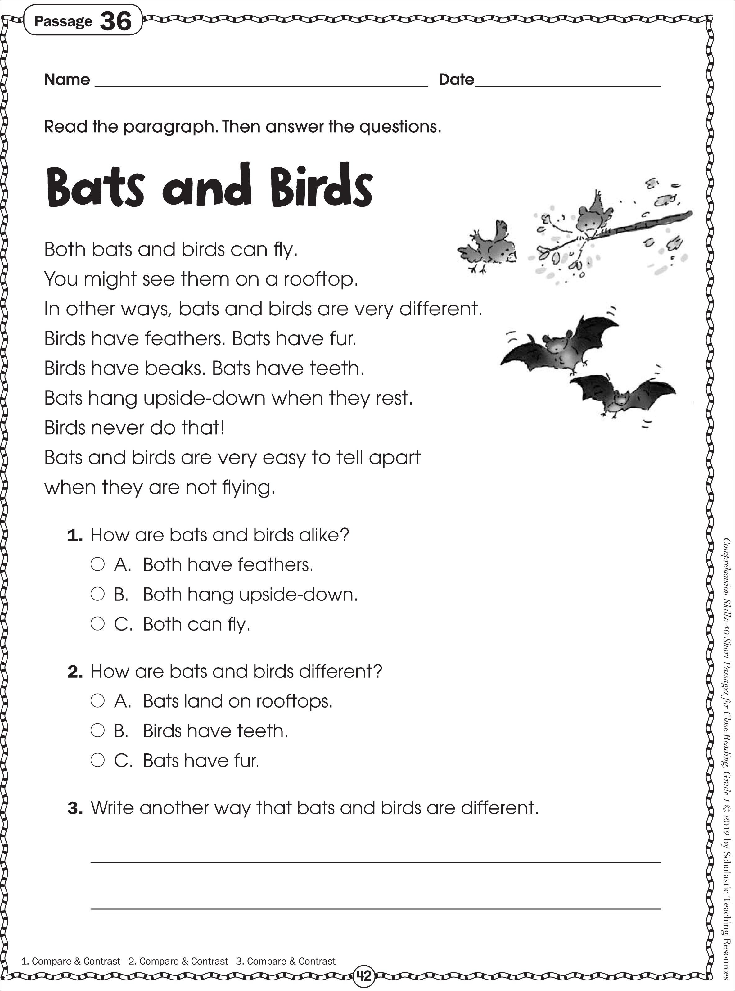 Worksheet : Free Printable Short Stories With Comprehension | Free Printable English Worksheets For 1St Grade
