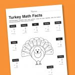 Worksheet Wednesday: Turkey Math Facts   Paging Supermom | Math Worksheets Thanksgiving Free Printable