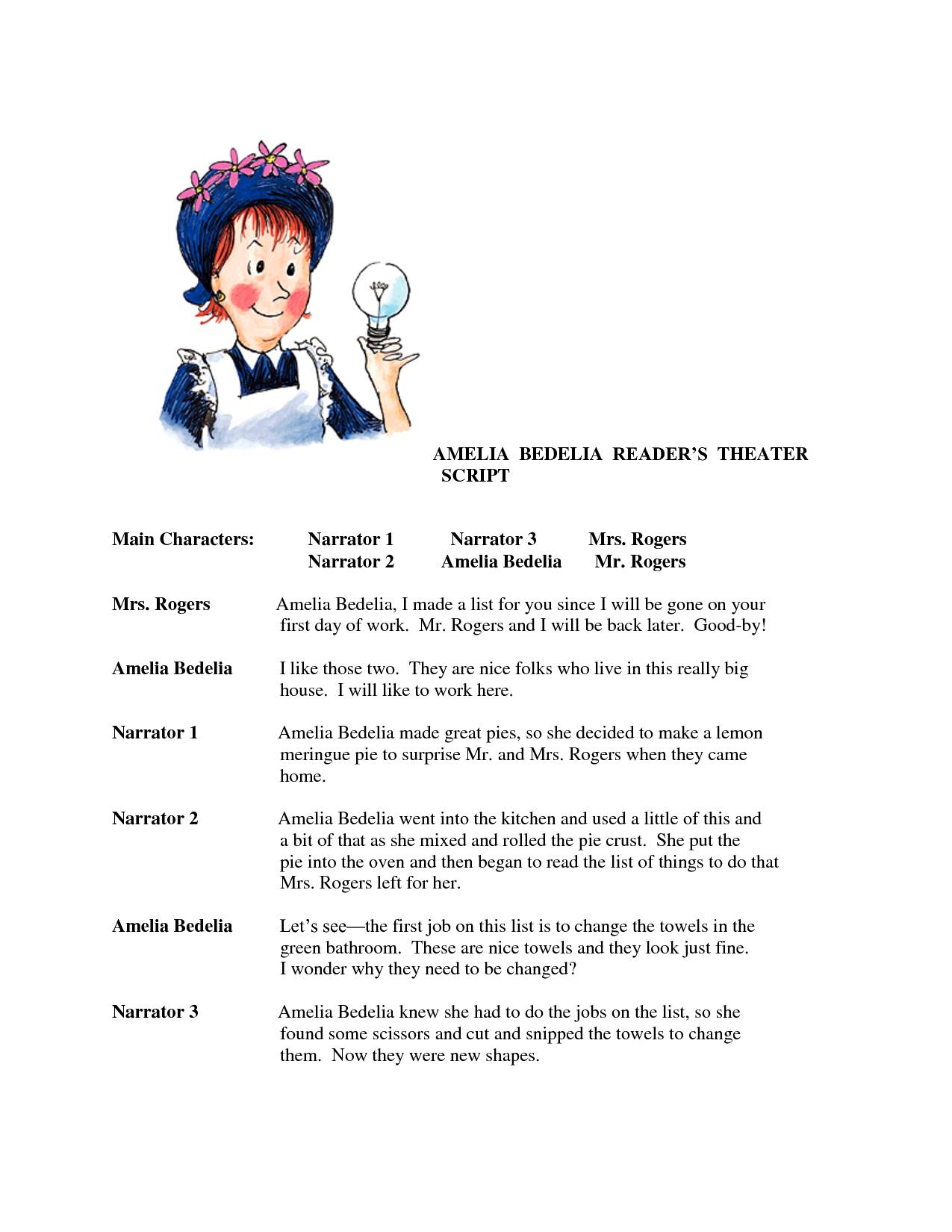 Worksheets Ameleia Bedelia | Amelia Bedelia Reader's Theater | Amelia Bedelia Printable Worksheets