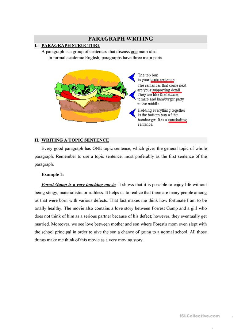 Writing A Topic Sentence Worksheet - Free Esl Printable Worksheets   Free Printable Paragraph Writing Worksheets
