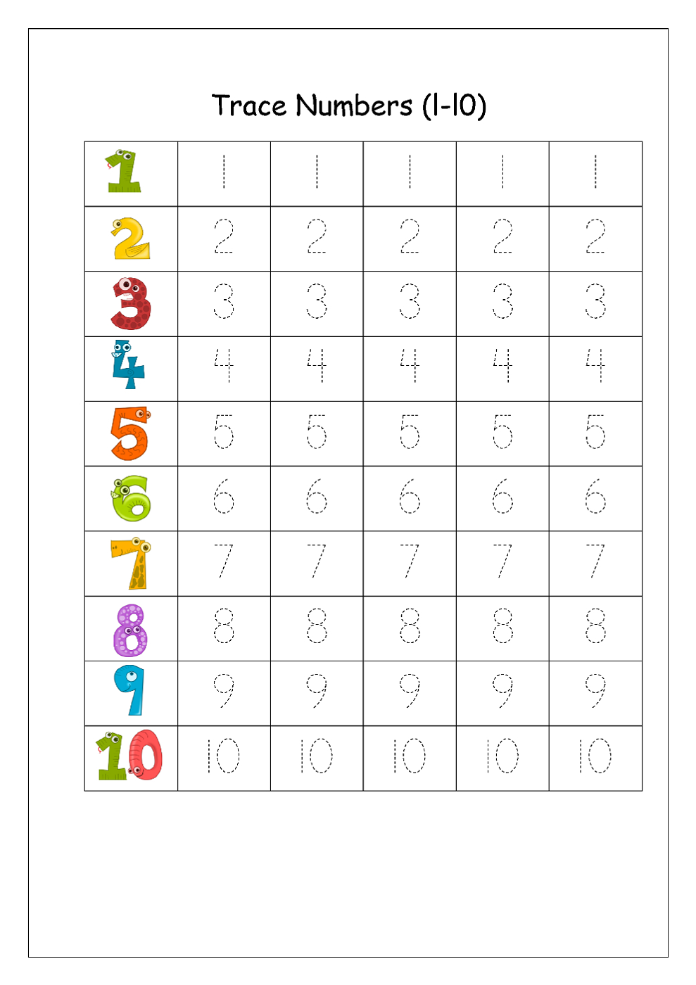 Writing Numbers Worksheet - Kids Learning Activity | Printable | Printable Number Tracing Worksheets