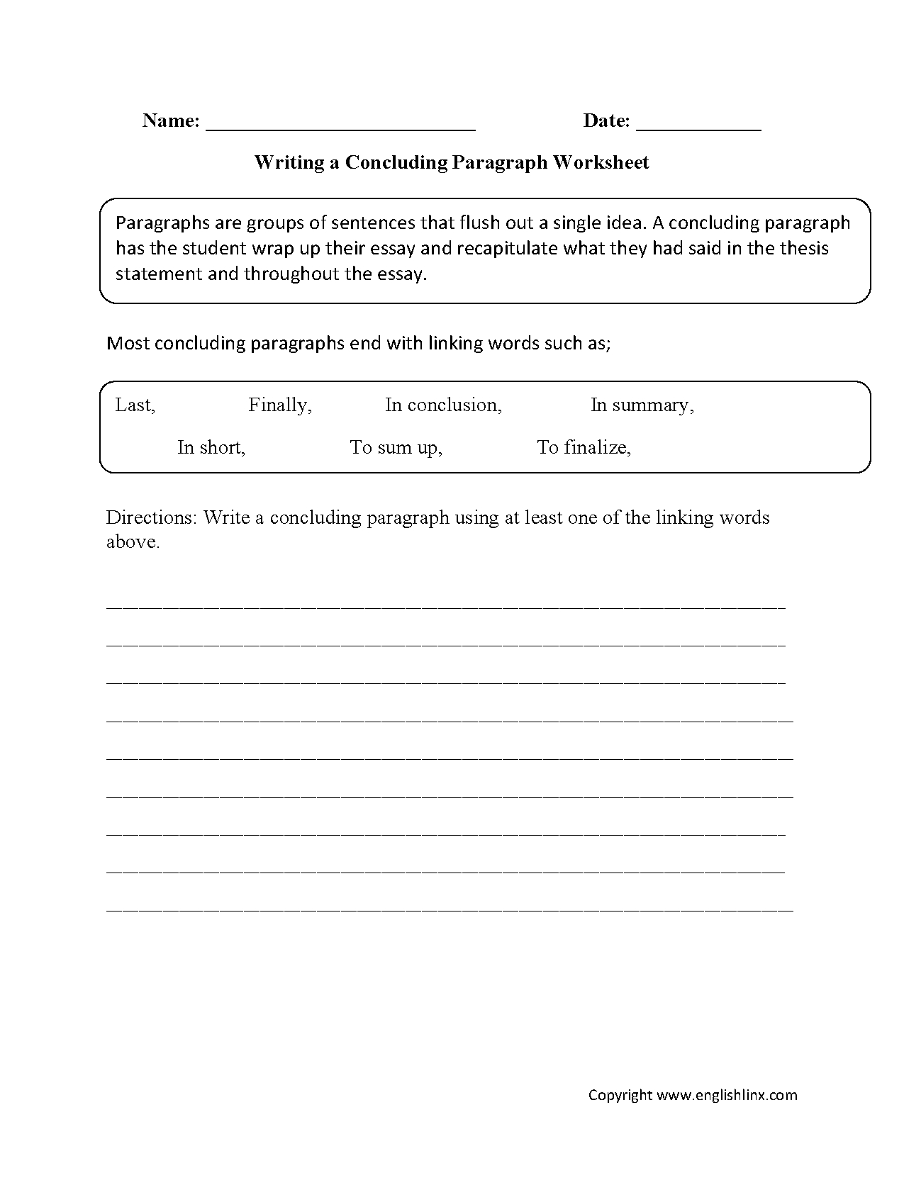 Writing Worksheets   Paragraph Writing Worksheets   Free Printable Paragraph Writing Worksheets