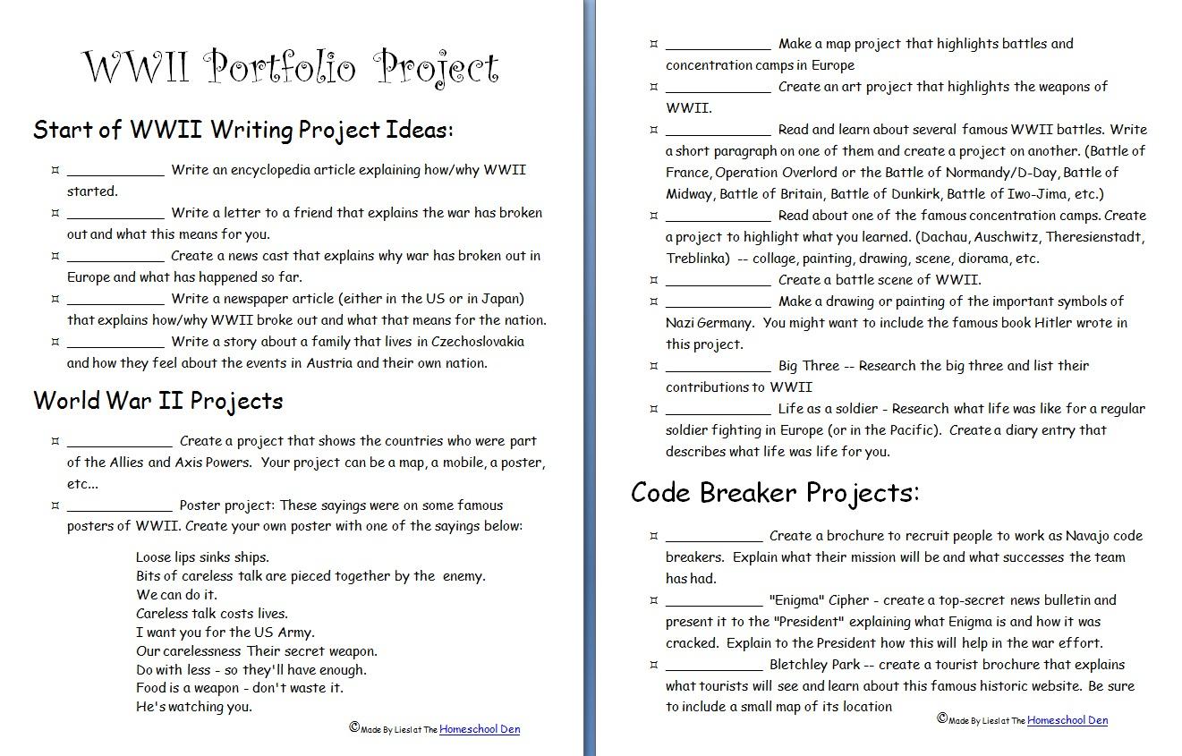 Wwii Portfolio Project - Homeschool Den | Wwii Printable Worksheets